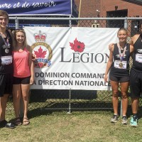 From left, Johnny Vanos, Mackenzie Mullen, Marissa Mueller and Zion Webb at the Legion National Youth Track and Field championships in Ste. Therese/Blainville. Submitted Photo