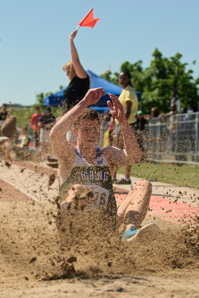 The red flag goes up on a long jump foul by Cormac Brown of St. Patrick's High School. With a little luck Brown got a second chance and eventually won all-Ontario bronze. Bruce Smith Photo