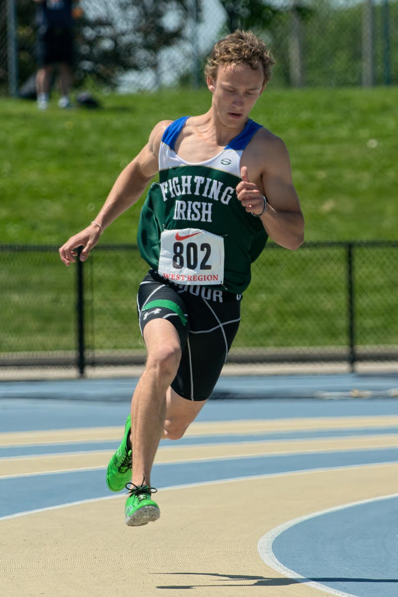 Joey Eddleston of St Patrick's finished third in the senior boys 200 metre race with a time of 22.73 seconds.   Bruce Smith Photo
