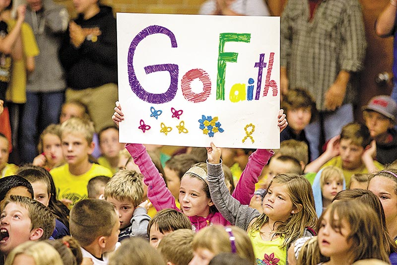 King George VI students give a warm welcome to Faith Abbey after the 10-year-old cancer survivor arrived in Sarnia on Sept. 11. Troy Shantz