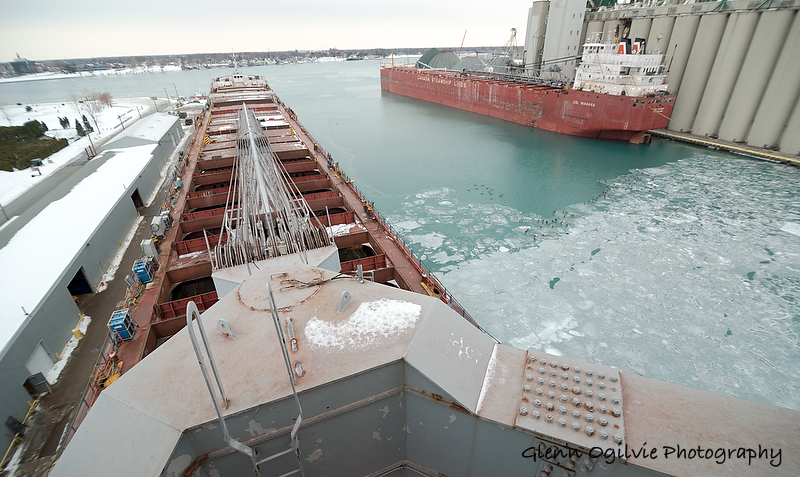 A view from the wheelhouse of the 730-foot Algoma Olympic showing the heart of the scattered berths and land lots the comprise Sarnia Harbour, which is now filling up with ships laying over for the winter. Glenn Ogilvie