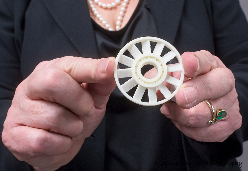 A plastic wheel that turns on bearings laid down in a single piece by a 3D printer at Lambton College's Bluewater Technology Access Centre.  Glenn Ogilvie