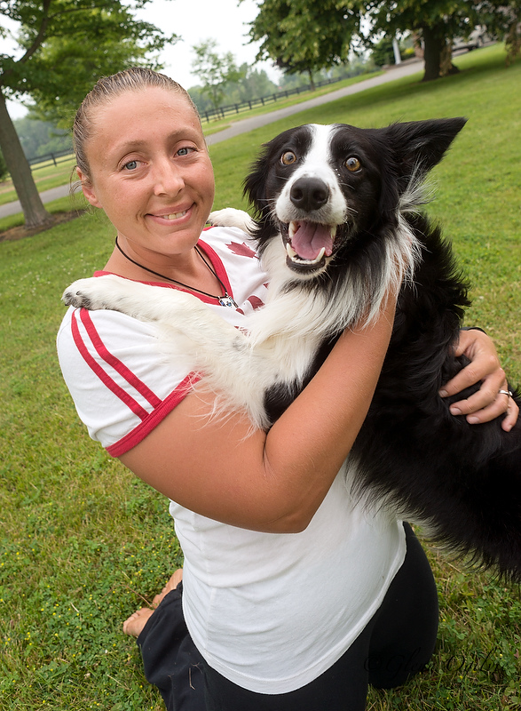 Karen Childs and her dog Cash are headed to an international agility and control competition in Germany this month. The pair train at the Fox and Hound. Glenn Ogilvie