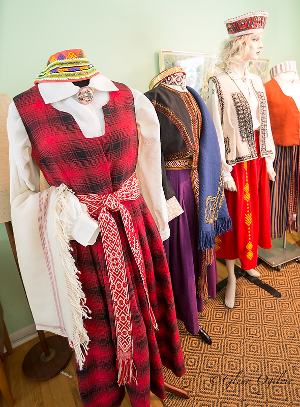 Every detail of Edite Mogensen''s traditional Latvian costumes was made and finished by hand, including shawls, headdresses, belts, skirts, blouses and vests.