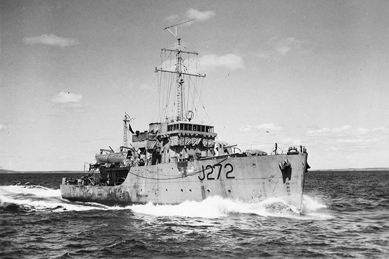 The HMCA Esquimalt was torpedoed by a German submarine and went down off the coast of Nova Scotia on April 16, 1945. Photo courtesy, Department of National Defence, J272.