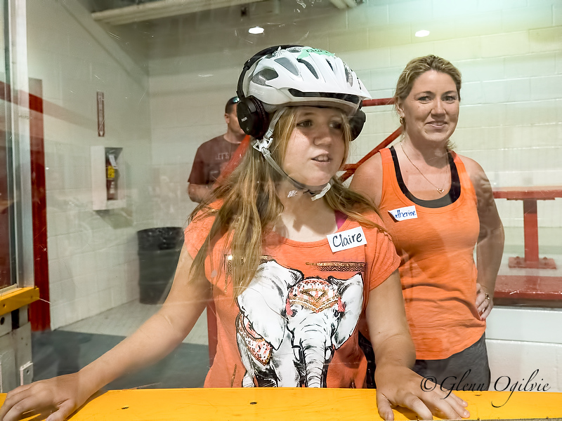 Claire Kelly, 11, watches as her classmates learn to ride at Clearwater Arena, with mom Catherine Kelly looking on. Glenn Ogilvie